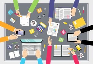 Business people teamwork concept top view people on squared table vector illustrationのイラスト素材 [FYI03070358]