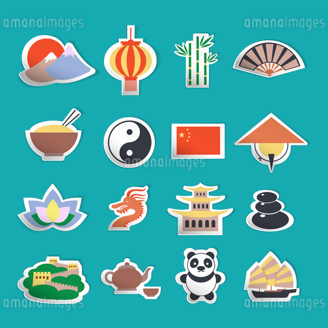China travel traditional culture symbols stickers set isolated vector illustrationのイラスト素材 [FYI03070366]