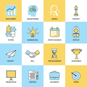 Business icons flat line set of development brainstorming search isolated vector illustrationのイラスト素材 [FYI03070368]