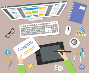 Graphic designer studio tools workplace top view with monitor and tablet vector illustrationのイラスト素材 [FYI03070369]