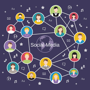 Social media network concept with male and female avatars connected vector illustrationのイラスト素材 [FYI03070372]
