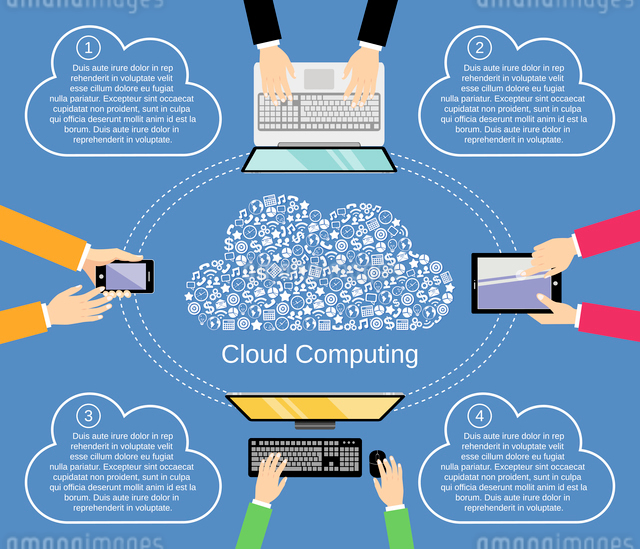 Cloud computing concept with business icons and hands holding computer devices vector illustrationのイラスト素材 [FYI03070373]