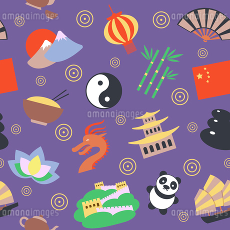 China travel traditional culture symbols seamless pattern vector illustrationのイラスト素材 [FYI03070374]