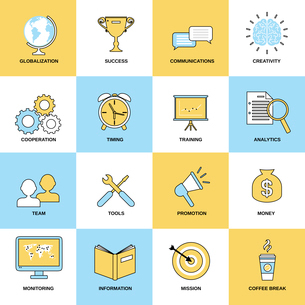 Business icons flat line set of globalization success communications isolated vector illustrationのイラスト素材 [FYI03070375]