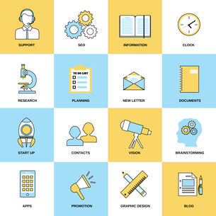 Business icons flat line set of support seo information clock isolated vector illustrationのイラスト素材 [FYI03070376]