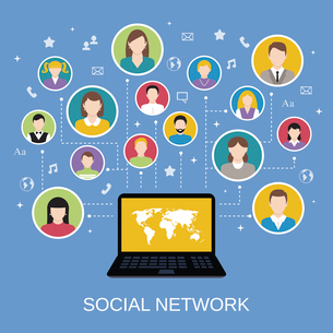 Social media network concept with male and female avatars connected via laptop vector illustrationのイラスト素材 [FYI03070378]