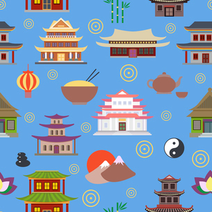 Chinese house and traditional culture symbols seamless pattern vector illustrationのイラスト素材 [FYI03070379]