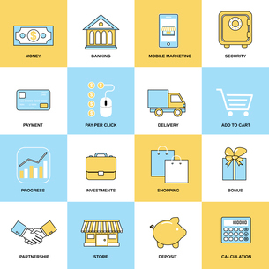 Business icons flat line set of money banking mobile marketing isolated vector illustrationのイラスト素材 [FYI03070380]