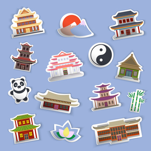 Chinese house and traditional culture symbols stickers isolated vector illustrationのイラスト素材 [FYI03070382]