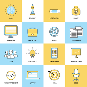 Business icons flat line set of idea strategy information isolated vector illustrationのイラスト素材 [FYI03070383]