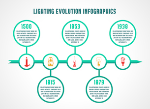 Flashlight and lamps energy saving timeline infographic vector illustrationのイラスト素材 [FYI03070386]