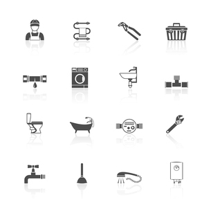 Home facilities water  pipe sections assembly and leakage fixing plumber kit icons set black isolateのイラスト素材 [FYI03070387]