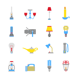 Flashlight and lamps illumination equipment icons flat set isolated vector illustrationのイラスト素材 [FYI03070388]