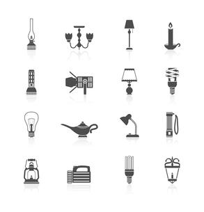 Flashlight and lamps light and illumination equipment icons black set isolated vector illustrationのイラスト素材 [FYI03070389]