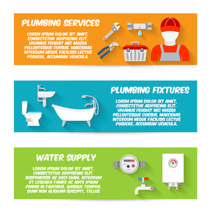 Plumbing service fixtures water supply icons horizontal banners set isolated vector illustrationのイラスト素材 [FYI03070390]