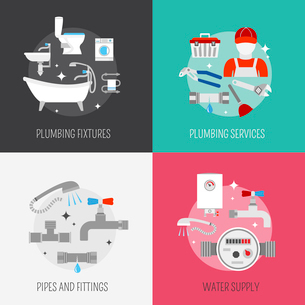 Pipeline plumbing and heating reparation service and  sink drain cleaning kit flat  icons compositioのイラスト素材 [FYI03070392]