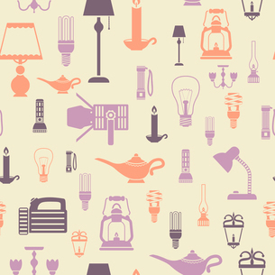 Flashlight and lamps electric bulbs seamless pattern vector illustrationのイラスト素材 [FYI03070394]