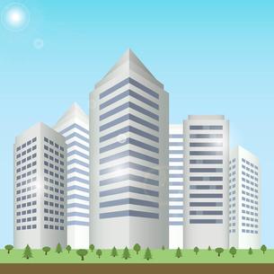 Modern urban building on street cityscape skyline vector illustration.のイラスト素材 [FYI03070397]