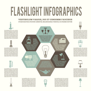 Flashlight and lamps energy saving flat hexagon infographic vector illustrationのイラスト素材 [FYI03070399]