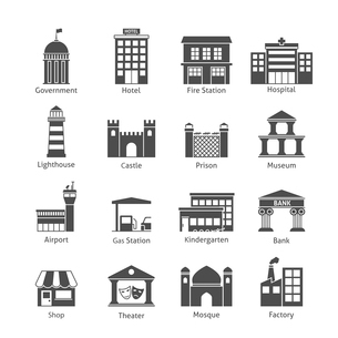 Government building icons black set of hotel fire station hospital isolated vector illustrationのイラスト素材 [FYI03070400]