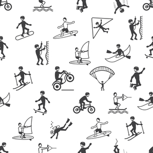 Extreme sports seamless pattern of diving climbing sailing people vector illustrationのイラスト素材 [FYI03070413]