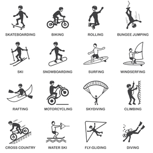 Vacation travel extreme sports icons set of skateboard snowboard skydiving and bungee jumping vectorのイラスト素材 [FYI03070416]