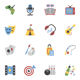Entertainment and amusement events flat icons set isolated vector illustrationのイラスト素材 [FYI03070418]