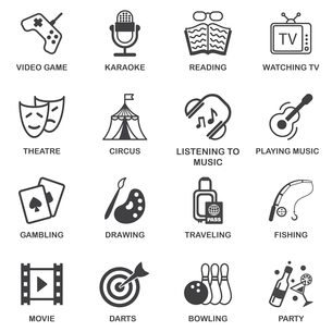 Entertainment celebration and amusement events black icons set isolated vector illustrationのイラスト素材 [FYI03070422]