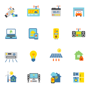 Smart home automation technology icons flat set isolated vector illustrationのイラスト素材 [FYI03070427]
