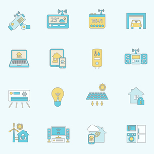 Smart home automation technology security control icons flat line set isolated vector illustrationのイラスト素材 [FYI03070429]
