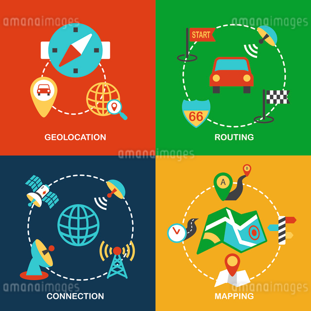 Mobile navigation geolocation routing mapping and connection flat icons set isolated vector illustraのイラスト素材 [FYI03070430]