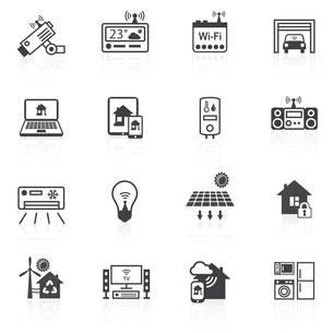 Smart home utilities security control icons black set isolated vector illustrationのイラスト素材 [FYI03070433]