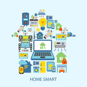 Smart home automation technology decorative icons set vector illustrationのイラスト素材 [FYI03070435]