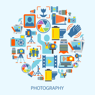 Photography photo equipment mode studio editing decorative icons flat vector illustrationのイラスト素材 [FYI03070444]