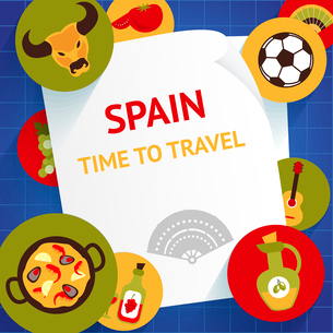 Spain travel tourist attractions time to travel background template vector illustrationのイラスト素材 [FYI03070457]