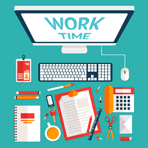 Top view on classic office workplace desk with computer and stationery vector illustrationのイラスト素材 [FYI03070463]