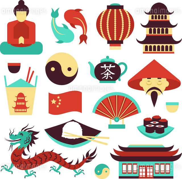 China travel asian traditional culture symbols set isolated vector illustrationのイラスト素材 [FYI03070467]