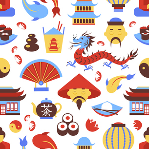 China travel chinese traditional culture symbols seamless pattern vector illustrationのイラスト素材 [FYI03070468]