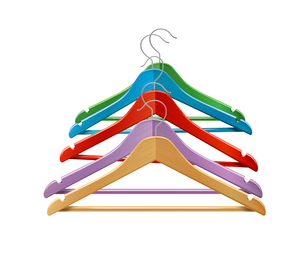 Clothes wooden colored hangers for jackets pants isolated 3d vector illustrationのイラスト素材 [FYI03070469]