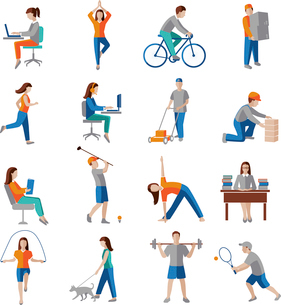 Physical activity healthy lifestyle icons set isolated vector illustration.のイラスト素材 [FYI03070484]