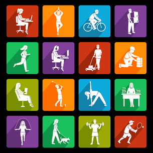Physical activity flat icons set with running walking talking people isolated vector illustrationのイラスト素材 [FYI03070485]
