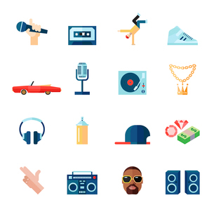 Rap hip-hop singing music flat icons set isolated vector illustrationのイラスト素材 [FYI03070498]