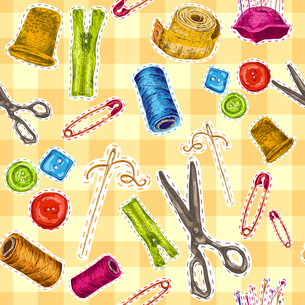 Sewing dressmaking and needlework accessories sketch seamless pattern vector illustrationのイラスト素材 [FYI03070503]