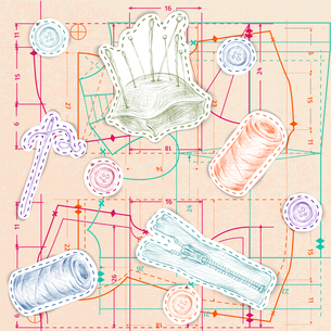 Dressmaking and needlework sketch accessories with pink paper sewing pattern background vector illusのイラスト素材 [FYI03070506]