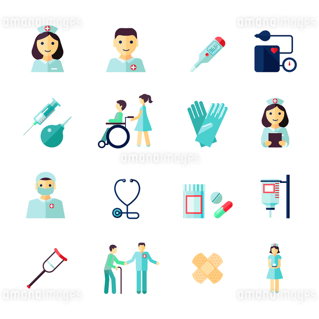 Nurse health care medical icons flat set isolated vector illustrationのイラスト素材 [FYI03070508]