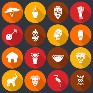 Africa jungle ethnic tribe icons set flat with house shields masks isolated vector illustrationのイラスト素材 [FYI03070520]