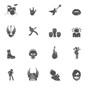 Rock concert music party black icons isolated vector illustrationのイラスト素材 [FYI03070521]
