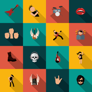 Rock concert festival music party flat icons isolated vector illustrationのイラスト素材 [FYI03070527]