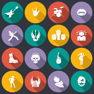 Rock concert music event flat icons isolated vector illustrationのイラスト素材 [FYI03070529]