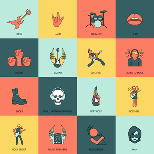 Rock concert singer guitarist star flat line icons isolated vector illustrationのイラスト素材 [FYI03070530]